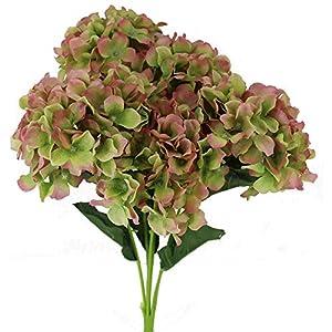 Unique Forest Arts 5 Heads Hydrangea Artificial Flower Bunch Bouquet Home Wedding Decor(Set of 4) 24