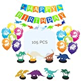 Dinosaur Party Supplies For Birthday Decorations, Bundle Set Of 100pcs Latex Balloons, Happy Birthday Banners and 8pcs Dinosaurs Centerpieces, Party Favors Dinosaur Theme Decor Kit For Adults And Kids