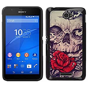 Be-Star Único Patrón Plástico Duro Fundas Cover Cubre Hard Case Cover Para Sony Xperia E4 ( Rose Skull Red Vignette Sword Rock )