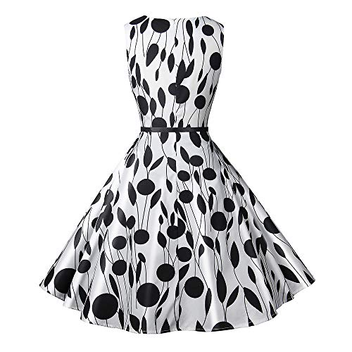Sans Blanc Sexy Occasionnels Année Impression 27 Manches Ineternet Balançoire Robe 60 Vintage Dot Femmes robe Bal De 50 Soirée XPukiZ