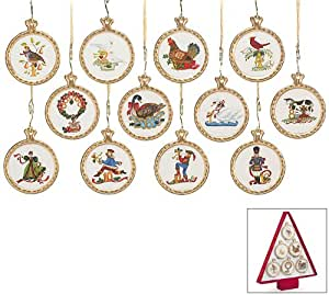 12 Days Of Christmas Ceramic Christmas Tree Ornaments Gift Boxed Set of 12 Ornaments