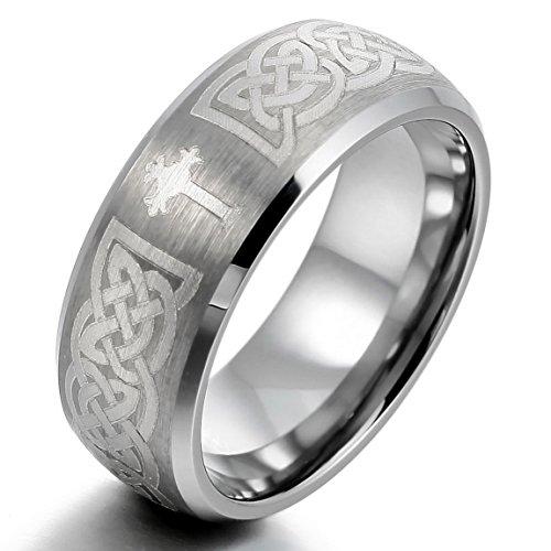 INBLUE Men's Tungsten Ring Band Silver Tone Irish Celtic Knot Cross Triquetra Size11 - Celtic Cross Ring Mens