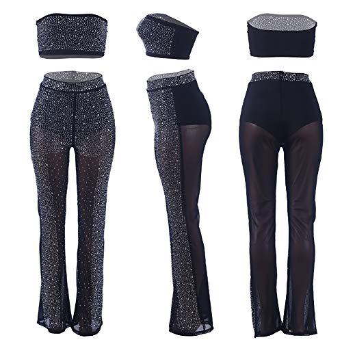 Through Maniche Lunghi Sexy Hot Woman Set 2 Senza See Drilling xl Pantaloni Crop Pezzi Strass Top TBaBqE8w