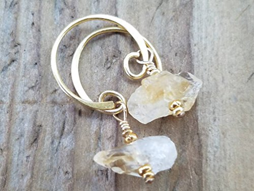 Raw Citrine and 24k Gold Vermeil Earrings - Gold Citrine Pierced Earrings