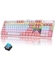 Mechanische gaming bedrade toetsenbord Blauwe schakelaar Kleur achtergrondverlichting 104 sleutels QWERTY US International indeling - roze
