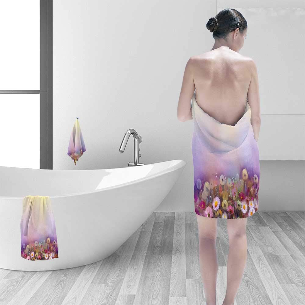 Quick Dry Bath towelBed with Different Blossoms Types Fresh Romantic Garden Paint Lilac Pink Absorbent Ideal for Everyday use