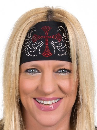 Open Road Girl Head Wrap: Wide Headbands for Women: Biker Chick Headwear: Cross With Rhinestones - Bandana Ladies