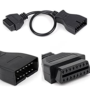Foseal OBD2 Extension Cable 12 Pin to 16 Pin Female OBD1 OBDII Connector Adapter for GM Vehicles/Car Diagnostic Tool