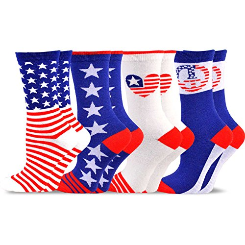TeeHee-Novelty-Fashion-Americana-Crew-Socks-for-Women-4-Pack
