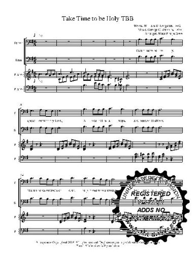 Take Time to be Holy TBB With Piano arrangement. Comes with Practice CD  Choral Sheet Music!  music arranged for 3 part  male choir or trio. 5 copies of the song included