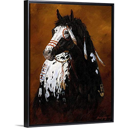 (Sioux War Pony Black Floating Frame Canvas Art, 32
