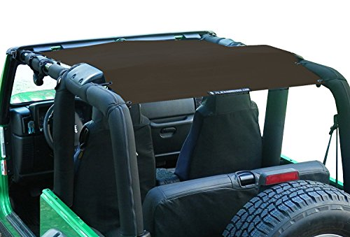 ALIEN SUNSHADE Jeep Wrangler Mesh Shade Top Cover with 10 Year Warranty Provides UV Protection for Your TJ (1997-2006) (Chocolate) ()