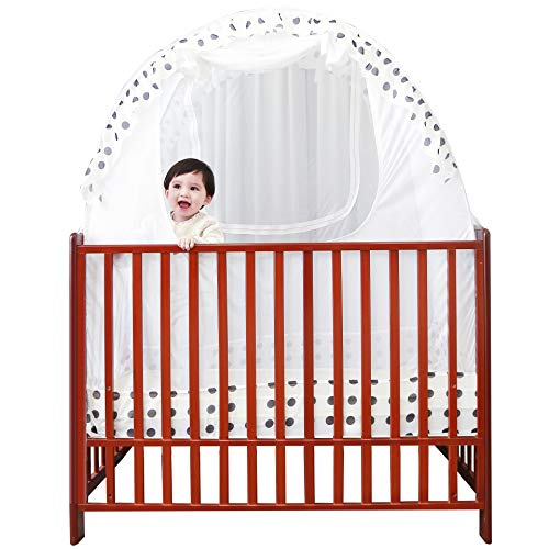 SDADI Pop Up Mosquito Net Baby Crib Safety Tent,Toddler Bed Canopy Netting Cover |Dots WLCN01D
