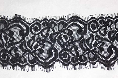 1 Yard Black Eyelash Scalloped Scroll Non Stretch Sewing lace 3.25 Wide W44#ID-586 ()