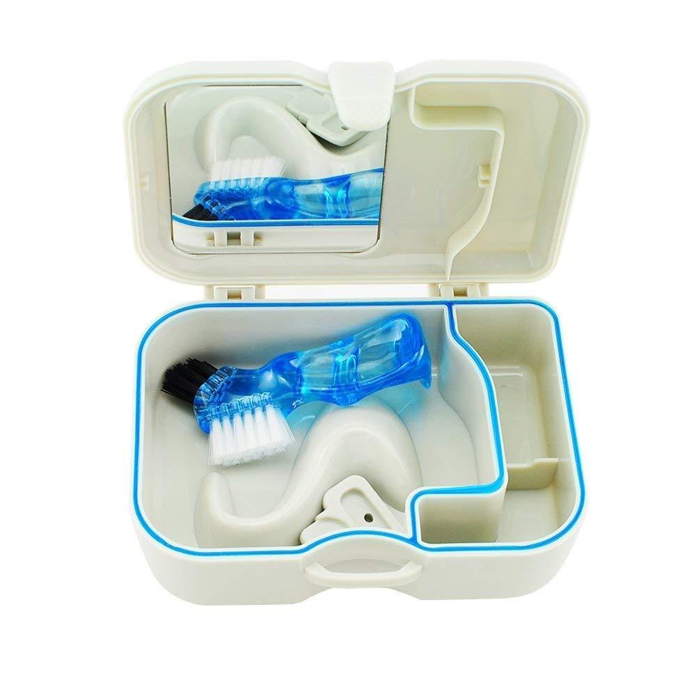 Oral Plastic Box Portable Denture Box with Mirror & Clean Brush, Handy False Teeth Storage & Bath Box : Beauty