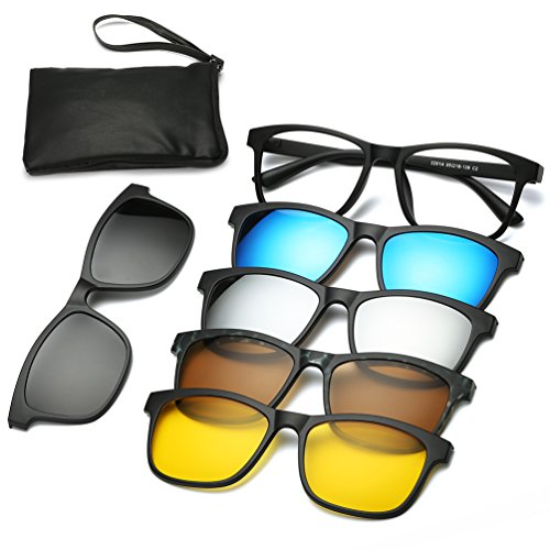 Magnetic Sunglasses Clip On Glasses Unisex Polarized Lenses TR90 Frame with 5 Lenses (2201, 55)