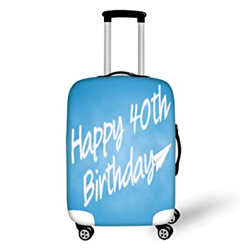 Travel Luggage Cover Suitcase Protector40th Birthday DecorationsCelebration Theme Clouds In Blue Sky