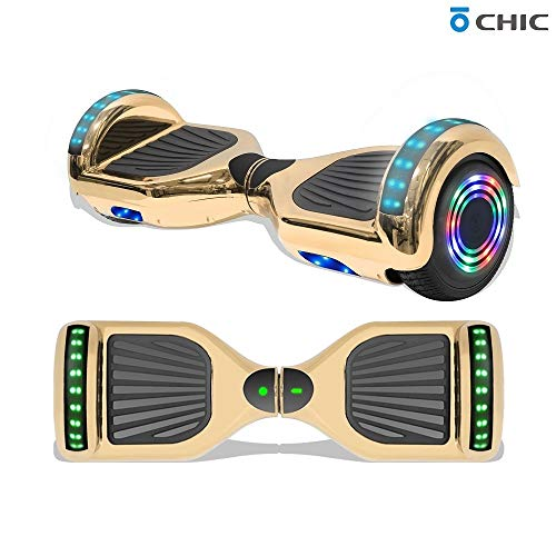 TPS Power Sports Electric Rechargeable Hoverboard for Kids and Adults with Speaker and LED Lights Safety Certified (Chrome Gold)