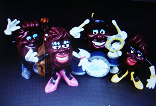 Vintage 1988 Ultra Rare California Raisins Complete THE BAND Set of 4-BASS PLAYER,YELLOW SHOES FEMALE with TAMBORINE,DRUMMER, PINK SHOES FEMALE-CMV $70-NEW in Factory Sealed (Vintage 4 Bass)