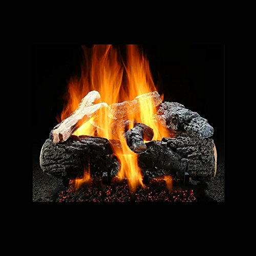ficent Inferno Vented Gas Logs Bundled with Ember Burner Natural Gas - Match Lit ()