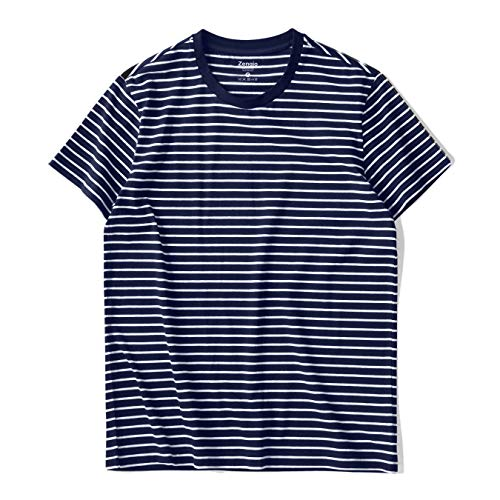 Zengjo Essential Stripes T-Shirts Comfort Short-Sleeve Crew-Neck Striped Tee Top (L, Navy & White Stripes)