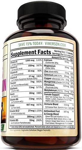 Women's Daily Multivitamin/Multimineral Supplement - Enhanced Vitamins & Minerals. Chromium, Magnesium, Biotin, Zinc, Calcium, Green Tea. Antioxidant Properties for Women. Heart & Breast Health. by Vimerson Health (Image #2)