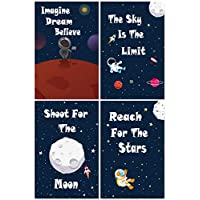 "L & O Goods Space Posters for Boys & Girls Room | Space Bedroom Wall Décor | Set of 4 Space Decorations for Kids | Cute Kids Wall Art for Playroom | Bedroom & Nursery Room Décor | 11"" x 17"""