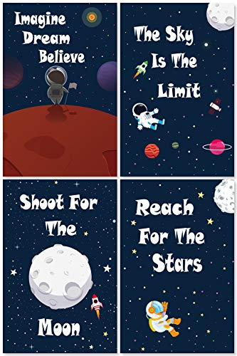 L & O Goods Space Posters for Boys & Girls Room | Space Bedroom Wall Décor | Set of 4 Space Decorations for Kids | Cute Kids Wall Art for Playroom | Bedroom & Nursery Room Décor | 11