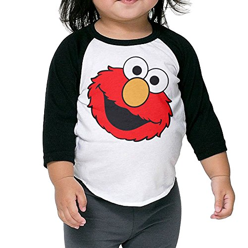 Grace Little Elmo's World New Design Boys & Girls Infant 100% Cotton 3/4 Sleeve Raglan T-Shirts Unisex Black ()
