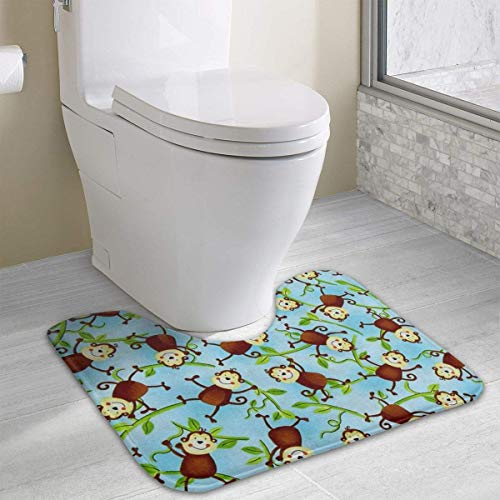Beauregar Jungle Camp Monkeys Contour Bath Rug,Microfiber Anti-Bacterial U-Shaped Toilet Floor Rug Shower Mat Non Slip Bathroom Carpet 19.2″x15.7″