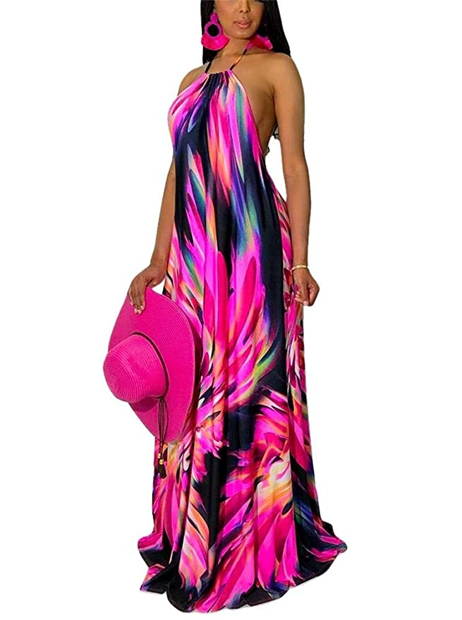 326465d011b LKOUS Sexy Sleeveless V-Neck Split Long Beach Dress Floral Print Bodycon Maxi  Dress at Amazon Women s Clothing store