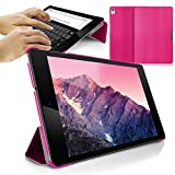Orzly® - SlimRim for NEXUS 9 with AUTO SLEEP SENSORS - ULTRA SLIM Rim Style Tablet Case in PINK with Built-In Magnetic Lid for Secure Fastening & Integrated Sleep Sensors ( for Automatic Sleep / Wake / Standby functionality ) - Custom Built to fit the Google / HTC NEXUS 9 Tablet (2014 Version / 9 inch screen Model - Fits both Original Model and also 3G / LTE Versions )