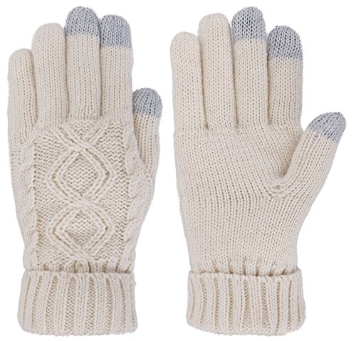 Womens Cable Knit 3 Finger Touchscreen Sensitive Winter Mitten Gloves Vanilla