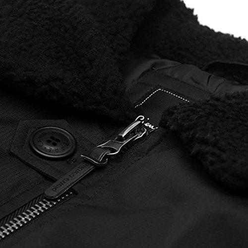 Sherpa Uomo Caldo Parka Black Giacca Pierre Cardin Artificiale Pelliccia Invernale Collare Imbottita z6Anxf