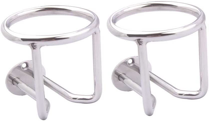 2 PCS Boat Ring Cup Holder Stainless Steel Ringlike Drink Holder for Marine Yacht