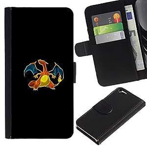 LECELL--Cuero de la tarjeta la carpeta del tirón Smartphone Slots Protección Holder For Apple Iphone 6 -- Meter monstruo dragón anaranjado --