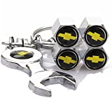 Set of 4 Tire valve stems Caps with Wrench Keychain For Chevy Chevrolet