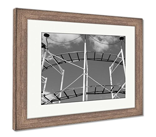 Ashley Framed Prints Rollercoaster Ride at A Fair, Wall Art Home Decoration, Black/White, 34x40 (Frame Size), Rustic Barn Wood Frame, AG5918875