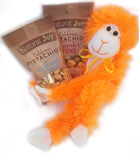 Nuts About You Pistachios and Stuffed Animal Monkey Gift Set, 3 Pieces (Bday Monkey)