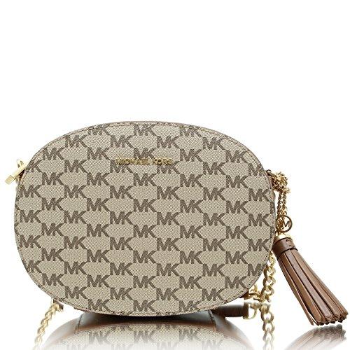 MICHAEL Michael Kors Womens Ginny Signature Logo Messenger Handbag Brown Small by Michael Kors