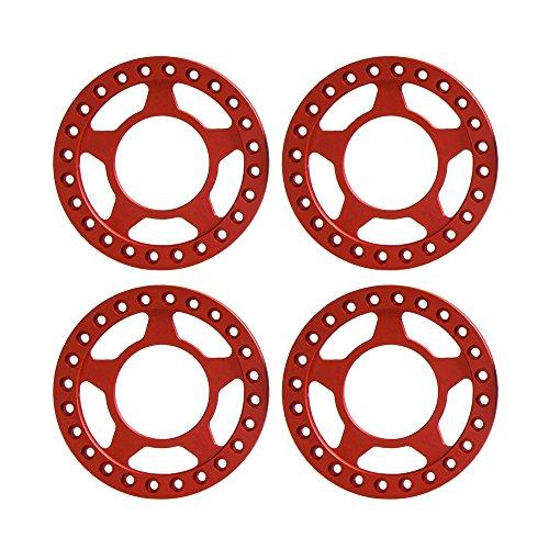 "Beadlock Rings Axial (4PCS Aluminum 1.9"" Beadlock Ring Replacement for 1/10 RC Wheel Rims of TRX-4, Axial SCX10, D90,CC01, Etc. (Red))"