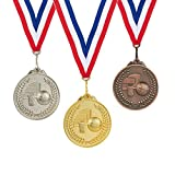 Juvale 3-Piece Award Medals Set - Metal Olympic Style Basketball Gold, Silver, Bronze Medals for Sports, Games, Competitions, Party Favors, 2.5 Inches in Diameter with 32-Inch Ribbon