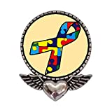 GiftJewelryShop Ancient Style Silver Plate Autism Ribbon Heart With Angel Wings Pins Brooch