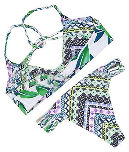 a3f369c6d7 Hihihappy Trendy Womens Two Piece Print Push Up String Bikini Sets Swimwear  As picture M As