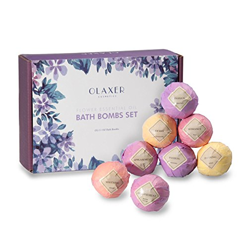 Bath Bombs -Olaxer SC009 8 Pices Spa Bomb Organic and Essential Oils Natural Ingredients for Moisturizing Dry Skin Floral