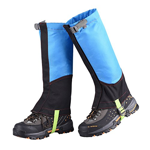 UNISTRENGH Mountain Hiking Boot Gaiters (Men and Women) - Breathable Waterproof High Leg Cover for Backpacking Hunting Climbing Outdoors (Blue/Black, Medium)