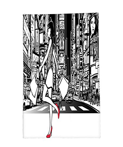 Interestlee Fleece Throw Blanket Girly Decor Collection Girl Shopping in Times Square New York at Night Cityscape Monochromic Sketch Print White - York In New Stores Time Square