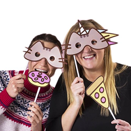 Pusheen The Cat Photobooth Kit - 24 card props, 30 prop straws and sticky pads by Pusheen
