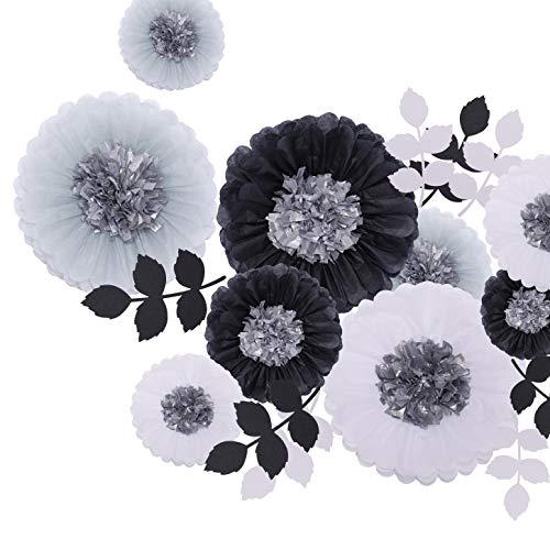 Fonder Mols Large Tissue Paper Flowers Paper Leaves Cutouts for Wedding Bridal Shower Graduation Graduate School Bachelor Baby Birthday Supplies Decor (13pcs, White Black Gray) -
