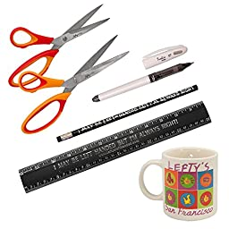 Lefthanded Office Supplies Includes Lefty Scissors, Ruler, Pen, Pencil and Mug